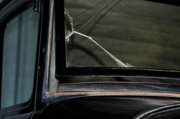 Wall Art - Photograph - Cracked Model T Windshield by Brenda Landdeck