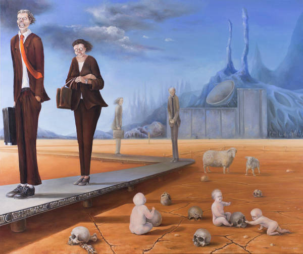 Social Commentary Painting - Cradle To Grave by Gergely Bukovinszki