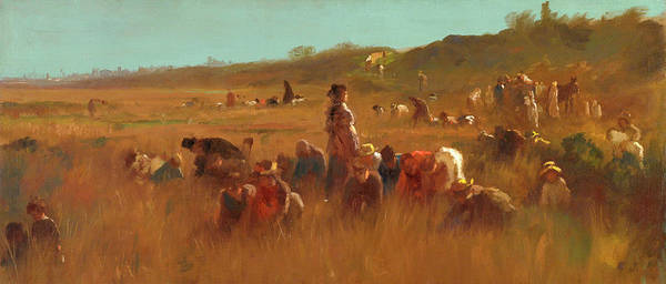 Pickers Wall Art - Painting - Cranberry Pickers, Nantucket by Eastman Johnson