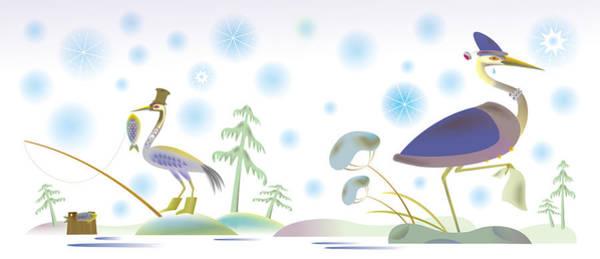 Illustration Digital Art - Crane And Heron by Illustration For  Folk Tale