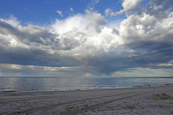Photograph - Crane Beach Fluffly Clouds Ipswich Ma Rainbow by Toby McGuire