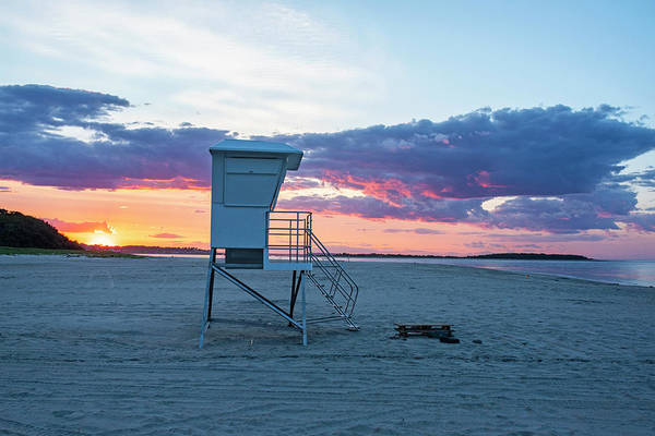 Photograph - Crane Beach Sunset Ipswich Ma Lifeguard Station by Toby McGuire
