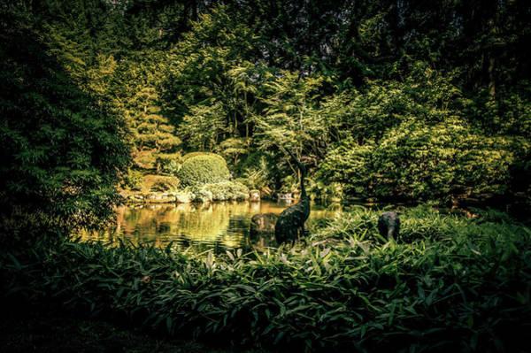 Wall Art - Photograph - Crane Sculpture At Portland Japanese Garden by Art Spectrum