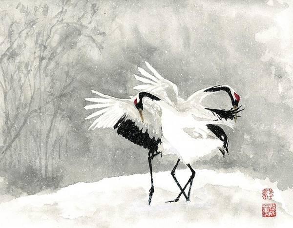 Wall Art - Painting - Crane Snow Dance by Terri Harris
