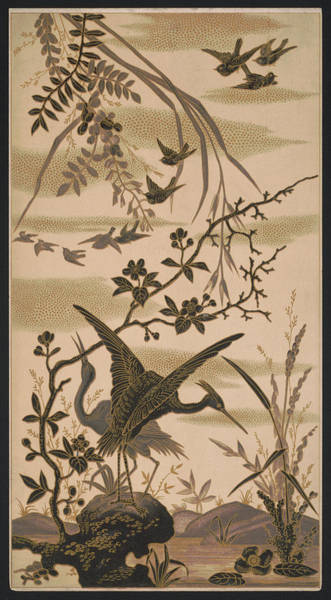 Twitcher Wall Art - Pyrography - Cranes And Birds At Pond 1880 by Daniel Hagerman