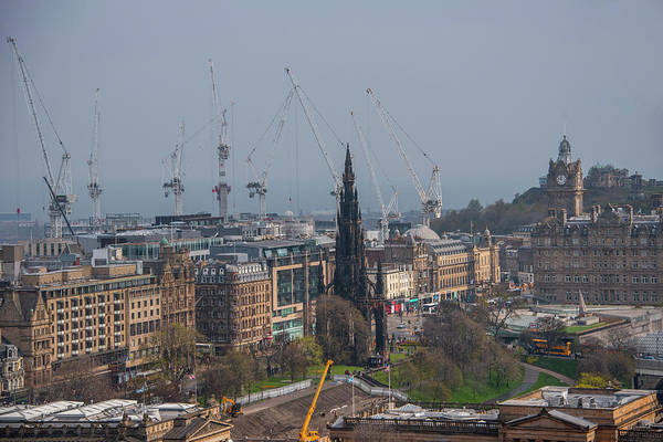 Photograph - Cranes Over New Town - Edinburgh Scotland by Bill Cannon