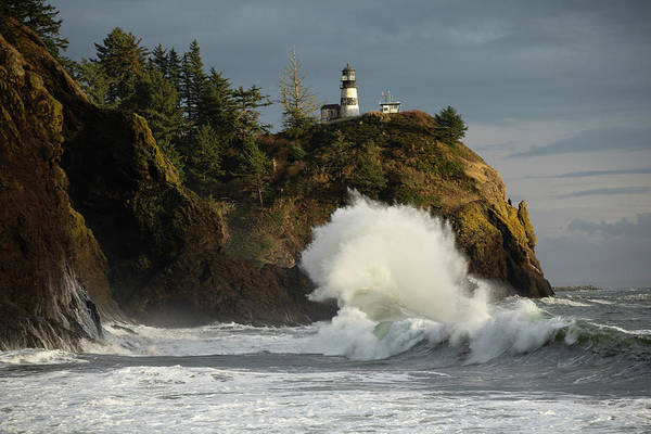 Wall Art - Photograph - Crashing Waves And Lighthouse, Cape by Panoramic Images