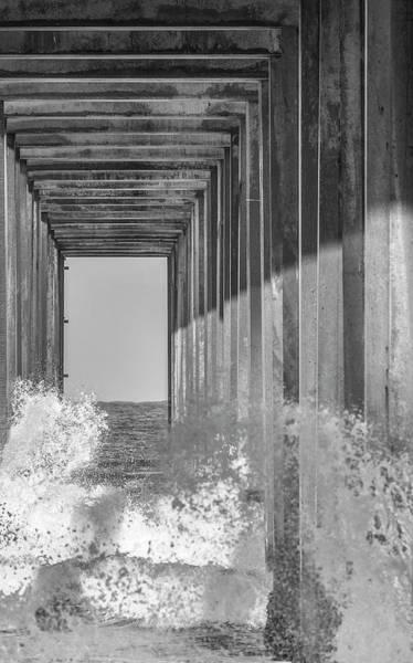 Photograph - Crashing Waves At Scripps Pier - Bw 1 by Jonathan Hansen