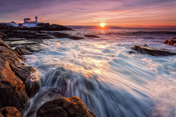 Photograph - Crashing Waves At Sunrise, Nubble Light.  by Jeff Sinon