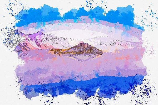 Painting - Crater Lake, United States -  Watercolor By Adam Asar by Celestial Images