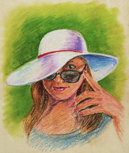 Summer Drawing - Craving Summer Woman With A Hat by Irina Sztukowski