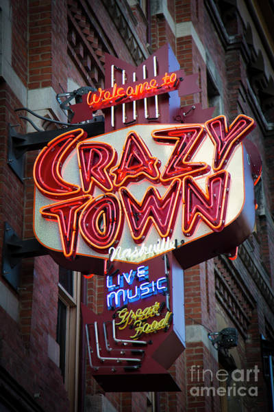 Wall Art - Photograph - Crazy Town Broadway Neon Signage Nashville Tennessee Art by Reid Callaway