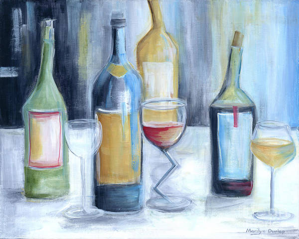 Wall Art - Painting - Crazy Wine Bottles by Marilyn Dunlap