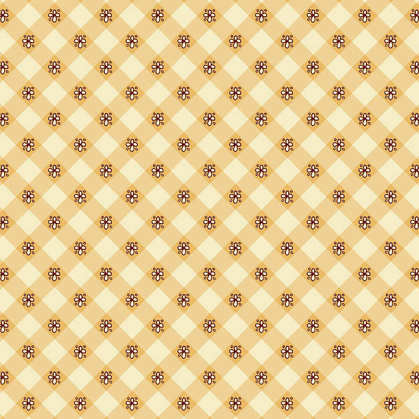Painting - Cream Floral Gingham Pattern by Jen Montgomery