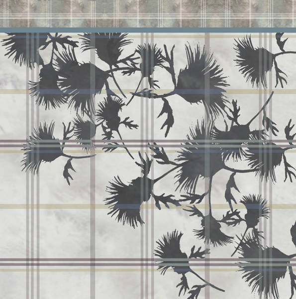 Digital Art - Cream Thistle Plaid Contrast Border by Sand And Chi