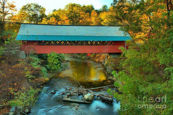 Photograph - Creamery Covered Bridge Fall Foliage by Adam Jewell