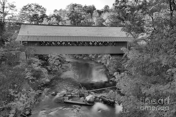 Photograph - Creamery Covered Bridge Fall Foliage Black And White by Adam Jewell