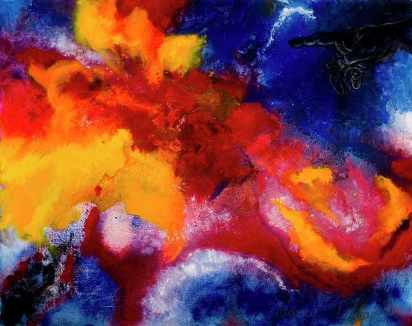 Finger Paint Painting - Creation, 2002 Tempera Paint On Canvas by Nancy Tamayo