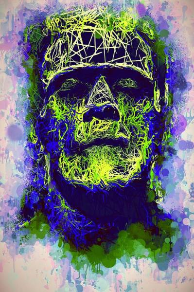 Mixed Media - Frankenstein Watercolor by Al Matra