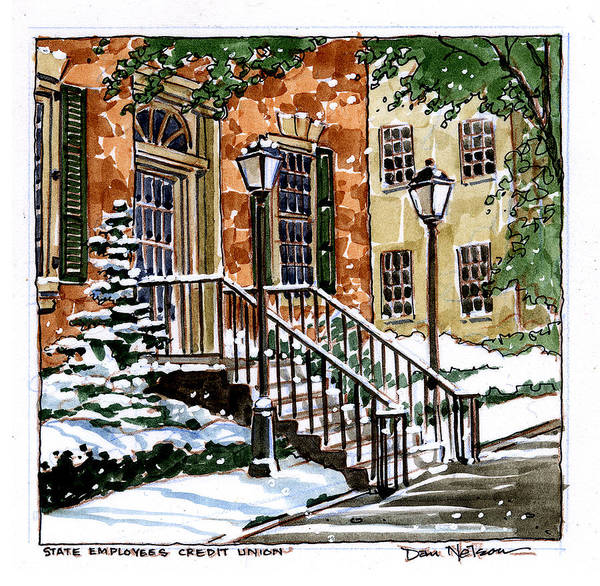 Wall Art - Painting - Credit Union In Snow by Dan Nelson