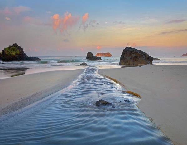 Photograph - Creek Flowing Into Ocean, Playa by