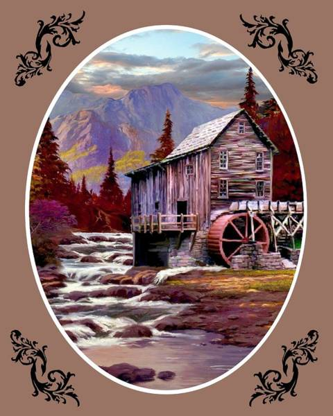 Wall Art - Painting - Creekside Mill - Oval by Ron Chambers