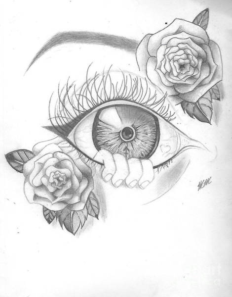 Drawing - Creepy Eye And Rose by Marissa McAlister