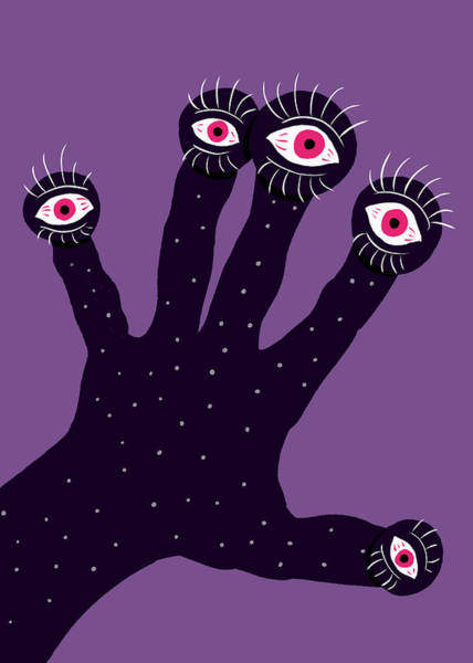 Eyeball Digital Art - Creepy Hand With Watching Eyes Weird by Boriana Giormova