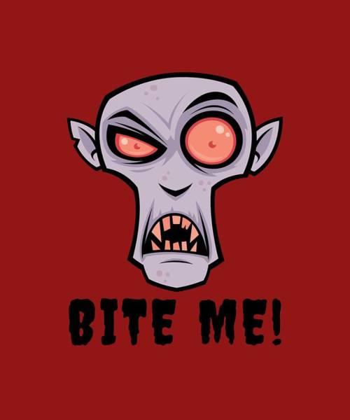 Scary Digital Art - Creepy Vampire Cartoon With Bite Me Text by John Schwegel