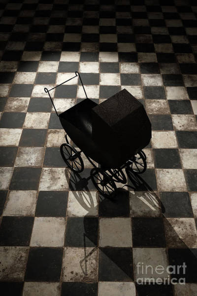 Digital Art - Creepy Vicorian Doll Pram On Checkered Floor by Clayton Bastiani