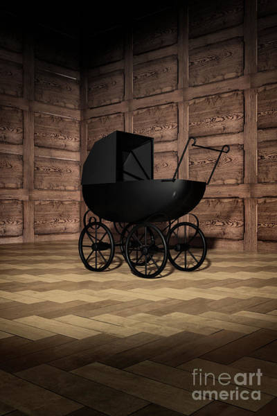 Digital Art - Creepy Victorian Pram In Corner by Clayton Bastiani