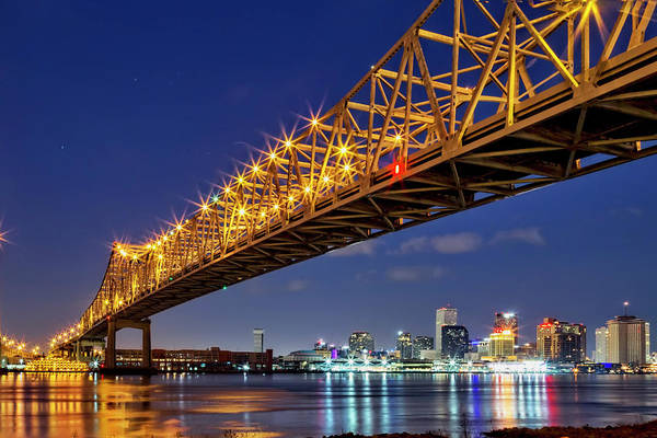 Photograph - The Crescent City Bridge, New Orleans  by Kay Brewer