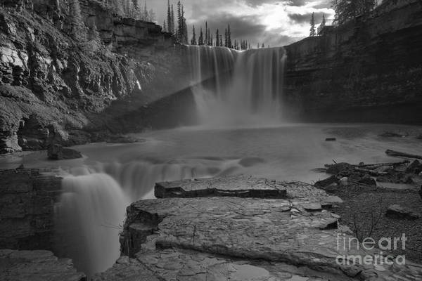 Photograph - Crescent Falls Light Rays Through The Mist Black And White by Adam Jewell