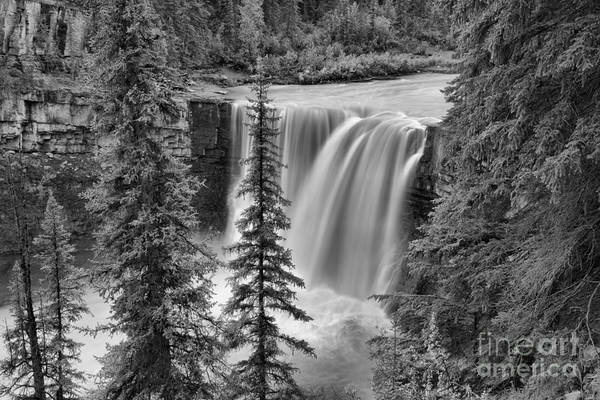 Photograph - Crescent Falls Through The Trees Black And White by Adam Jewell