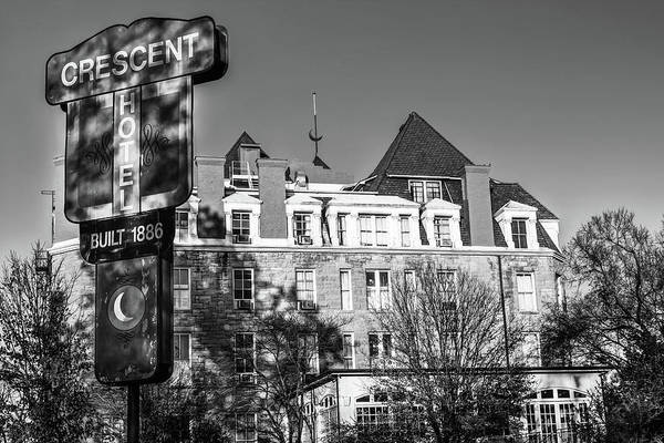 Eureka Springs Photograph - Crescent Hotel - Eureka Springs Arkansas - Monochrome Edition by Gregory Ballos