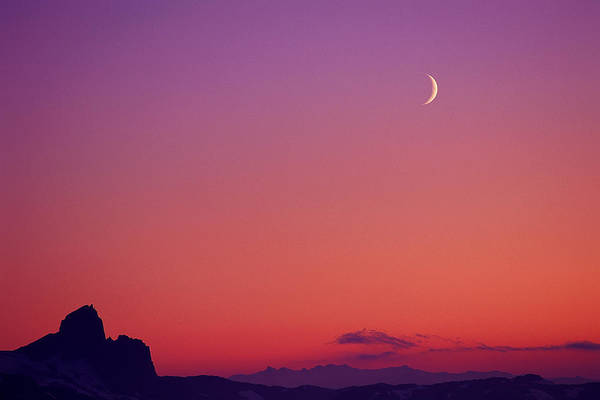 Wall Art - Photograph - Crescent Moon At Dusk, Garibaldi Park by Ascent/pks Media Inc.