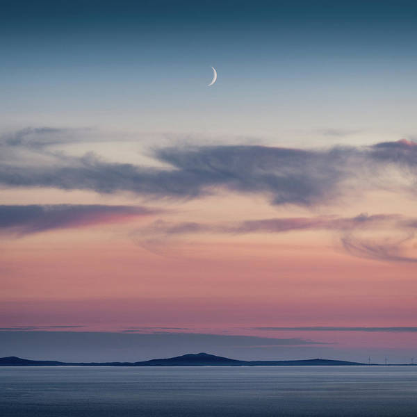Wall Art - Photograph - Crescent Moon Over North Uist by Dave Bowman