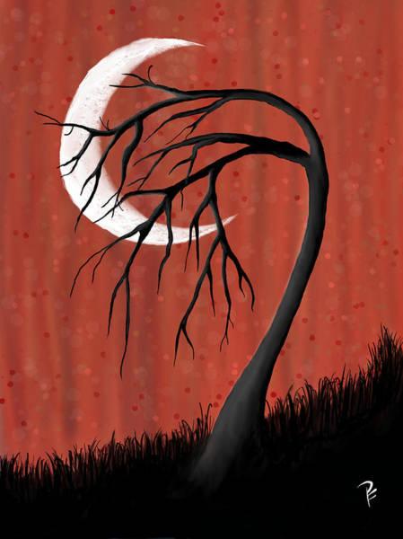 Wall Art - Digital Art - Crescent Moon Tree by Penny FireHorse