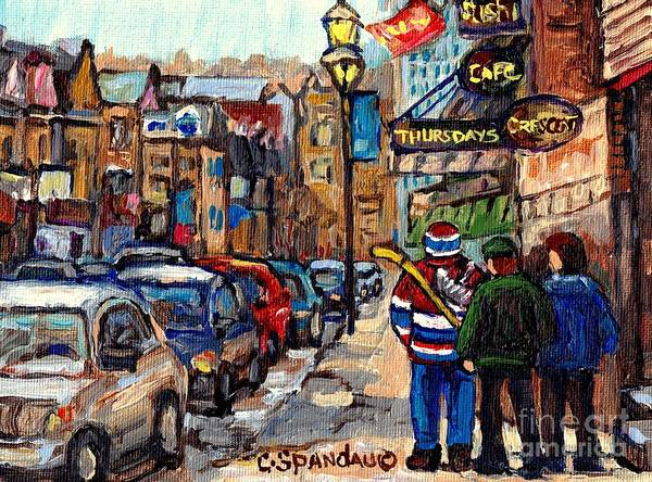 Painting - Crescent Street Downtown Stroll After St Patrick Parade Canadiens Hockey Jersey C Spandau Quebec Art by Carole Spandau