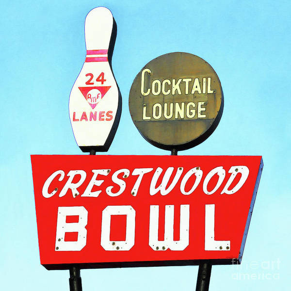 Cocktail Lounge Photograph - Crestwood Bowl Bowling Alley 20190105 Square by Wingsdomain Art and Photography