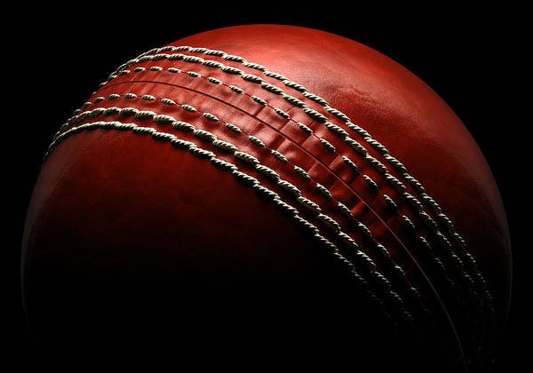 Black Background Photograph - Cricket Ball On Black Background by Ian Mckinnell
