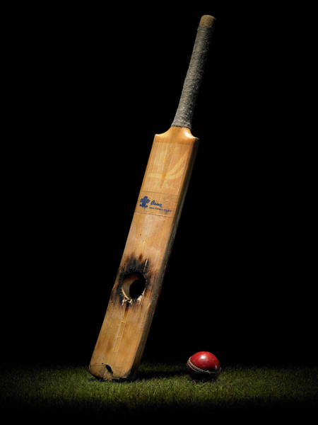 Close Up Photograph - Cricket Bat With Hole And Ball by Phil Ashley