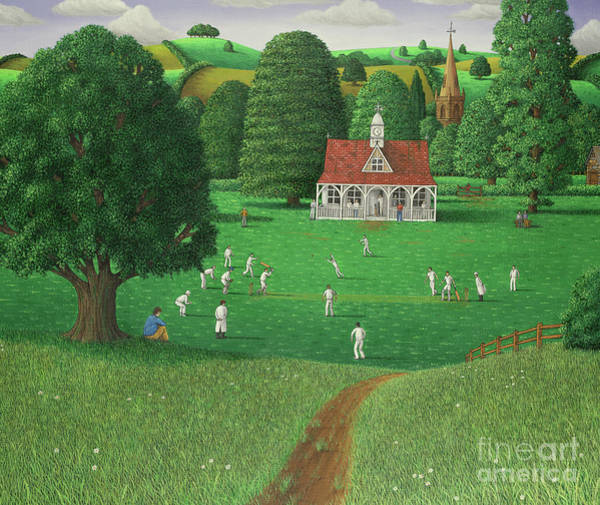 Wall Art - Painting - Cricket Match At St. Marys Grange, Wiltshire, 1986  by Larry Smart