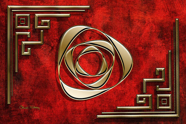 Digital Art - Crimson And Gold 2 by Chuck Staley