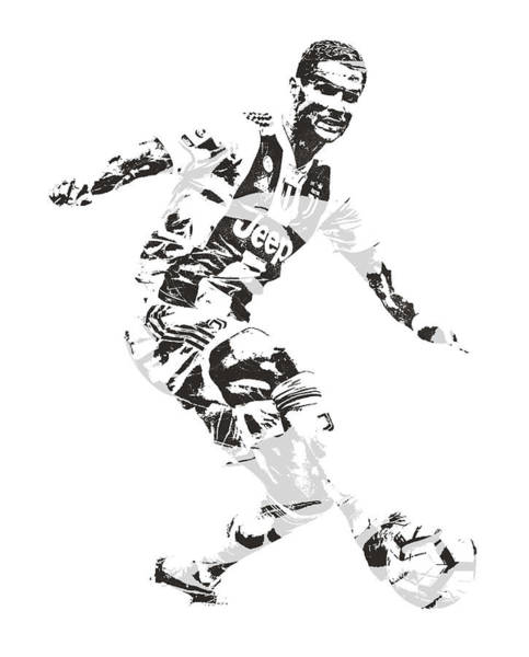 Premier League Wall Art - Mixed Media - Cristiano Ronaldo Juventus Pixel Art 1 by Joe Hamilton