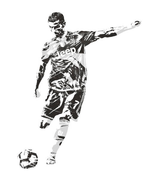 Premier League Wall Art - Mixed Media - Cristiano Ronaldo Juventus Pixel Art 2 by Joe Hamilton