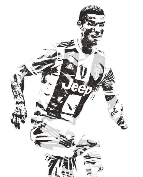 Premier League Wall Art - Mixed Media - Cristiano Ronaldo Juventus Pixel Art 3 by Joe Hamilton