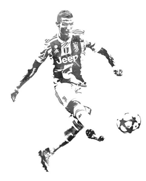 Premier League Wall Art - Mixed Media - Cristiano Ronaldo Juventus Water Color Pixel Art 1 by Joe Hamilton
