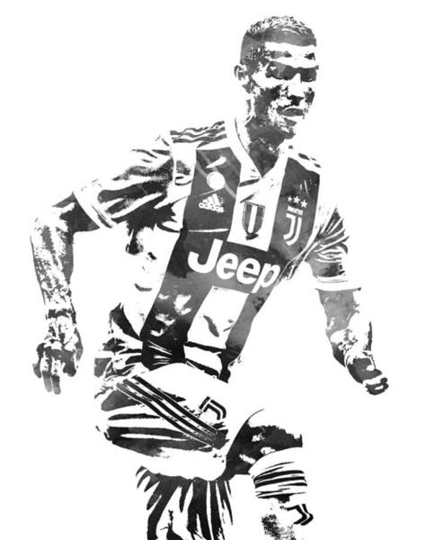 Premier League Wall Art - Mixed Media - Cristiano Ronaldo Juventus Water Color Pixel Art 4 by Joe Hamilton