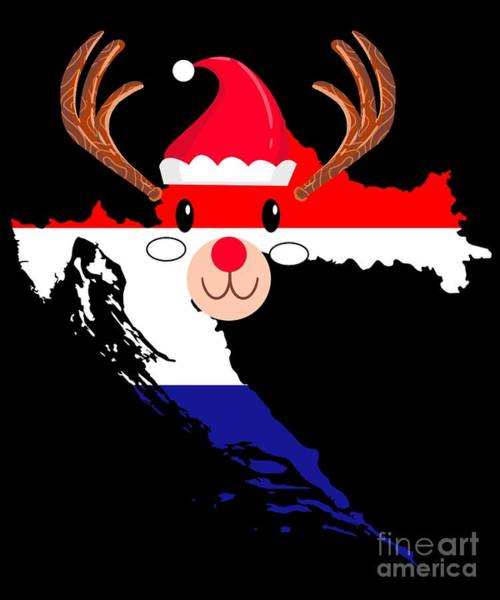 Ugly Digital Art - Croatia Christmas Hat Antler Red Nose Reindeer by TeeQueen2603